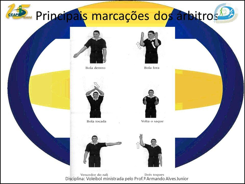 Principais marcações dos árbitros Disciplina: Voleibol ministrada pelo Prof.º Armando Alves Junior