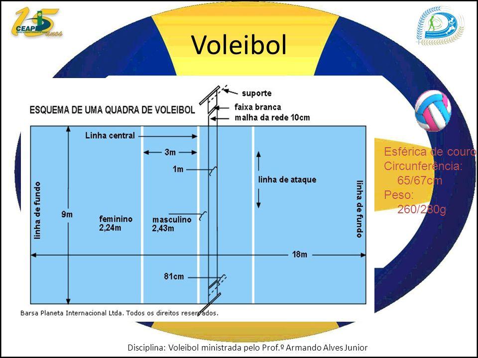 Voleibol Esférica de couro Circunferência: 65/67cm Peso: 260/280g Disciplina: Voleibol ministrada pelo Prof.º Armando Alves Junior