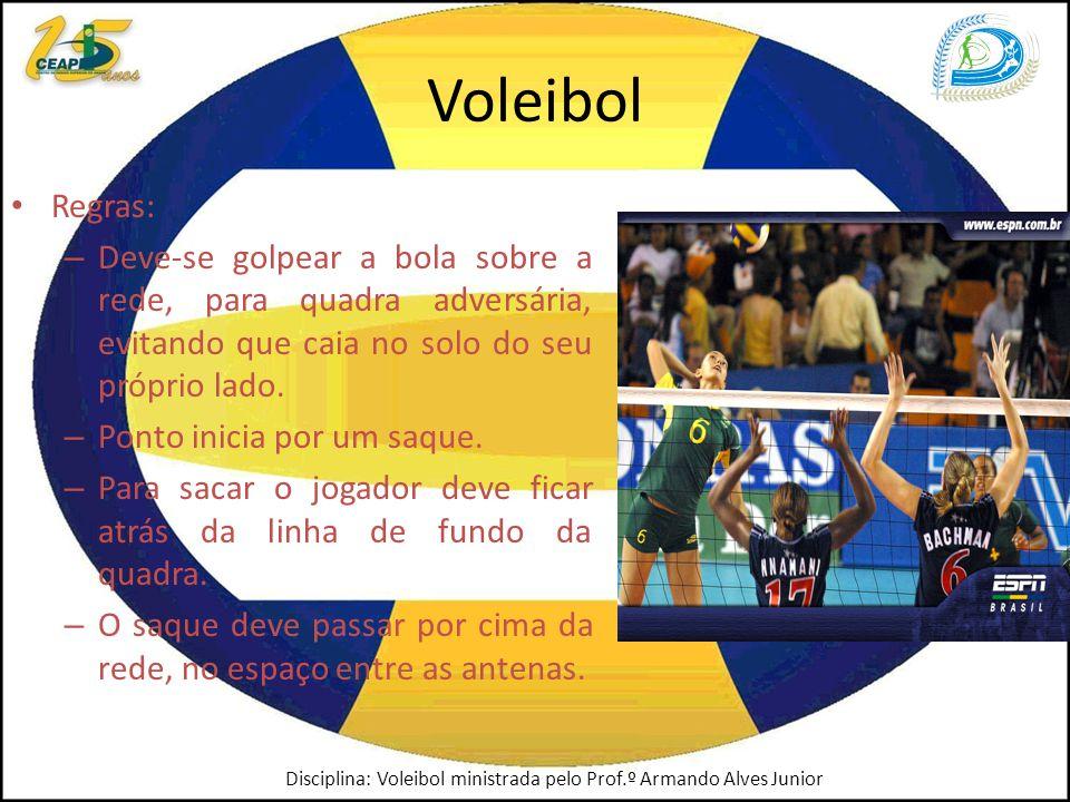 Voleibol Regras: – Deve-se golpear a bola sobre a rede, para quadra adversária, evitando que caia no solo do seu próprio lado.