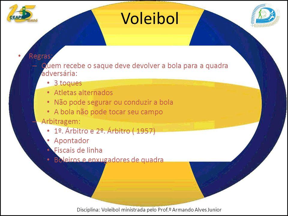 Voleibol Regras: – Quem recebe o saque deve devolver a bola para a quadra adversária: 3 toques Atletas alternados Não pode segurar ou conduzir a bola A bola não pode tocar seu campo – Arbitragem: 1º.