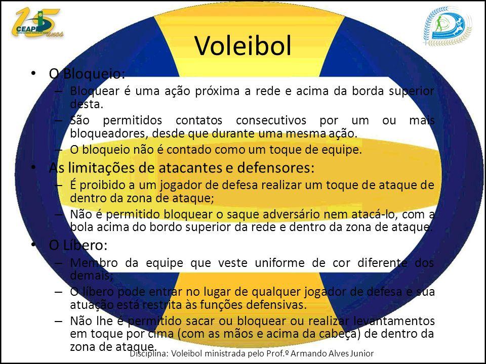 Voleibol O Bloqueio: – Bloquear é uma ação próxima a rede e acima da borda superior desta.