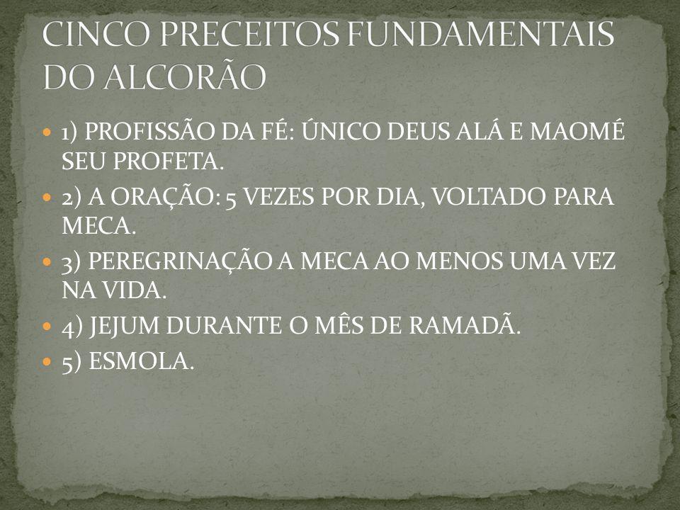 1) PROFISSÃO DA FÉ: ÚNICO DEUS ALÁ E MAOMÉ SEU PROFETA.