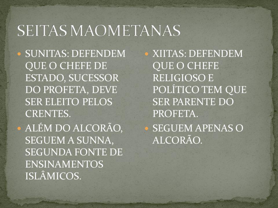 SUNITAS: DEFENDEM QUE O CHEFE DE ESTADO, SUCESSOR DO PROFETA, DEVE SER ELEITO PELOS CRENTES.