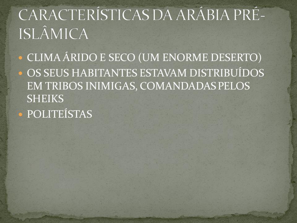 CLIMA ÁRIDO E SECO (UM ENORME DESERTO) OS SEUS HABITANTES ESTAVAM DISTRIBUÍDOS EM TRIBOS INIMIGAS, COMANDADAS PELOS SHEIKS POLITEÍSTAS