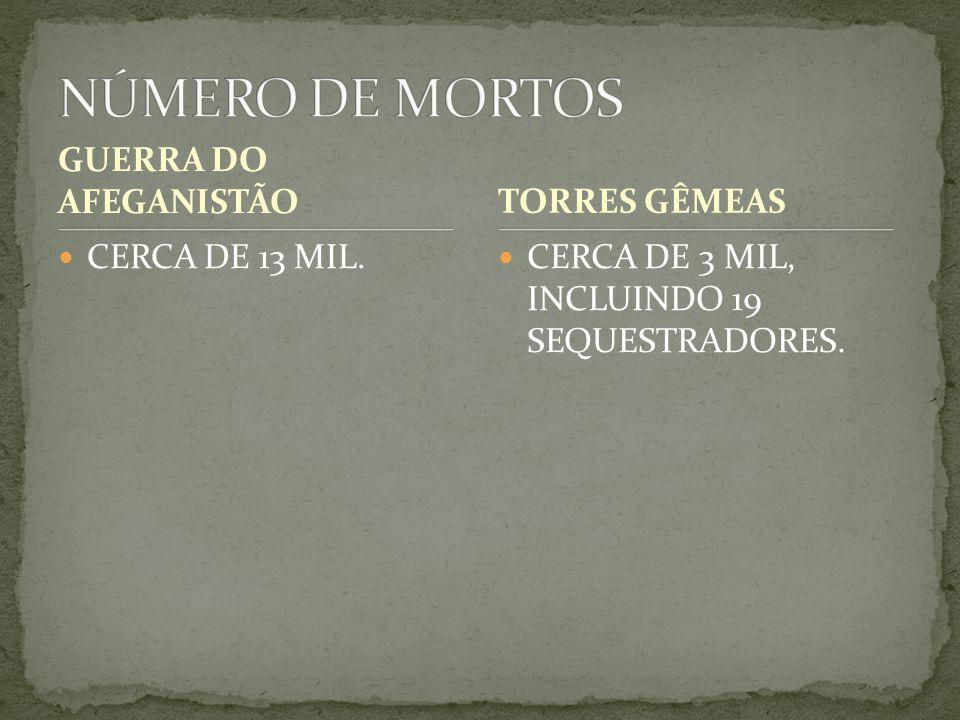 GUERRA DO AFEGANISTÃO CERCA DE 13 MIL. CERCA DE 3 MIL, INCLUINDO 19 SEQUESTRADORES. TORRES GÊMEAS