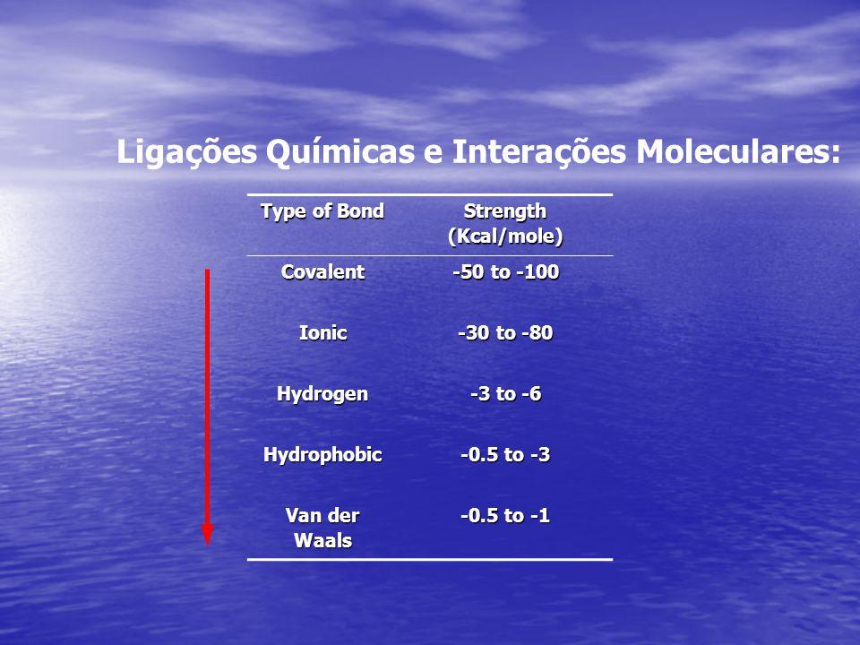 Ligações Químicas e Interações Moleculares: Type of Bond Strength (Kcal/mole) Covalent -50 to -100 Ionic -30 to -80 Hydrogen -3 to -6 Hydrophobic -0.5