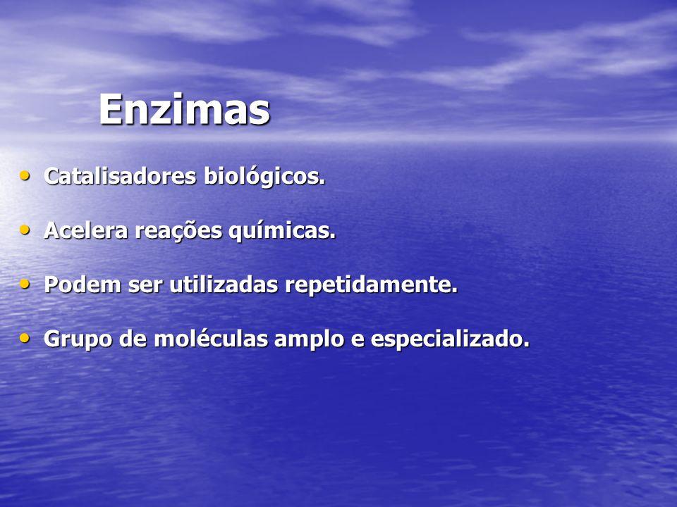 Enzimas Catalisadores biológicos. Catalisadores biológicos. Acelera reações químicas. Acelera reações químicas. Podem ser utilizadas repetidamente. Po