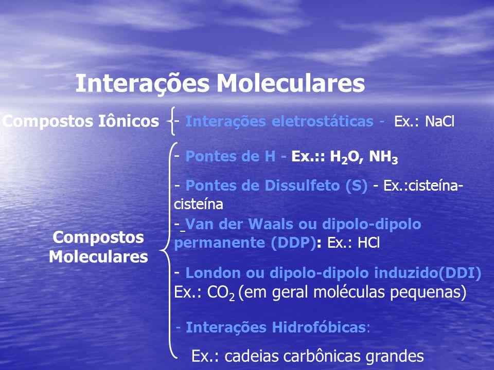 Interações Moleculares - Interações eletrostáticas - Ex.: NaCl - Pontes de H - Ex.:: H 2 O, NH 3 Compostos Iônicos - Van der Waals ou dipolo-dipolo pe
