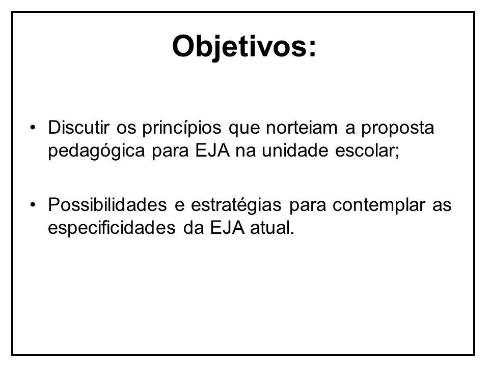 Objetivos: Discutir os princípios que norteiam a proposta pedagógica para EJA na unidade escolar; Possibilidades e estratégias para contemplar as especificidades da EJA atual.