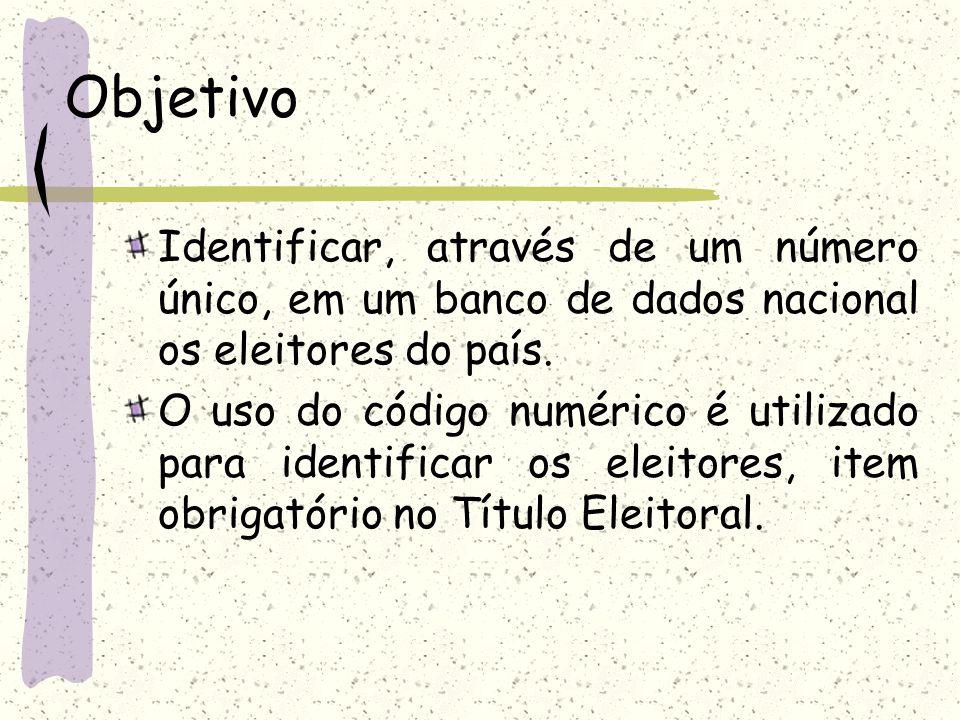 Objetivo Identificar, através de um número único, em um banco de dados nacional os eleitores do país.