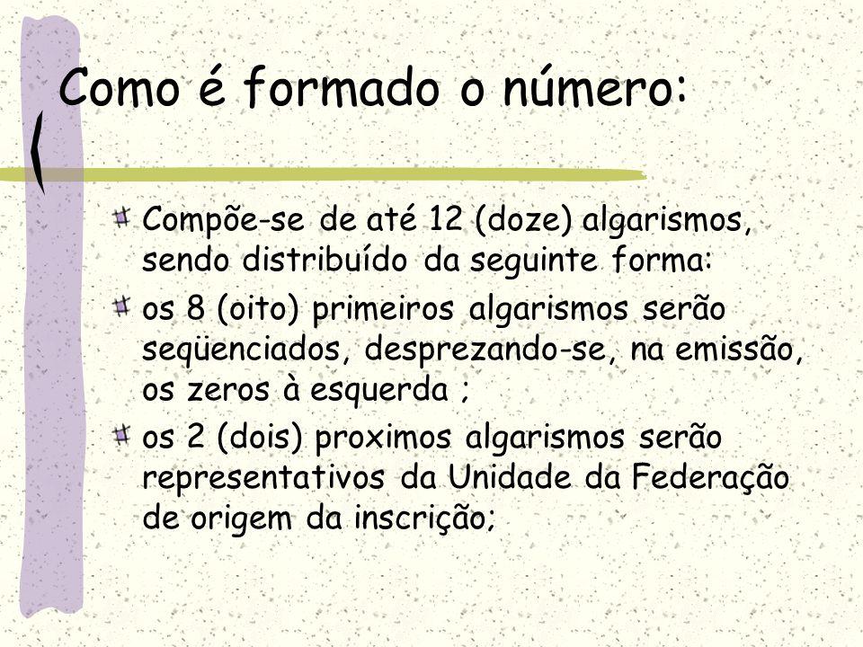 Como é formado o número: Compõe-se de até 12 (doze) algarismos, sendo distribuído da seguinte forma: os 8 (oito) primeiros algarismos serão seqüenciados, desprezando-se, na emissão, os zeros à esquerda ; os 2 (dois) proximos algarismos serão representativos da Unidade da Federação de origem da inscrição;