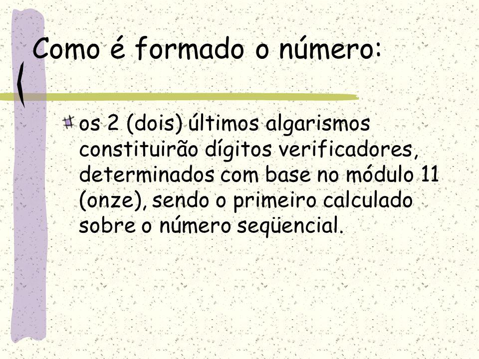 Como é formado o número: os 2 (dois) últimos algarismos constituirão dígitos verificadores, determinados com base no módulo 11 (onze), sendo o primeiro calculado sobre o número seqüencial.