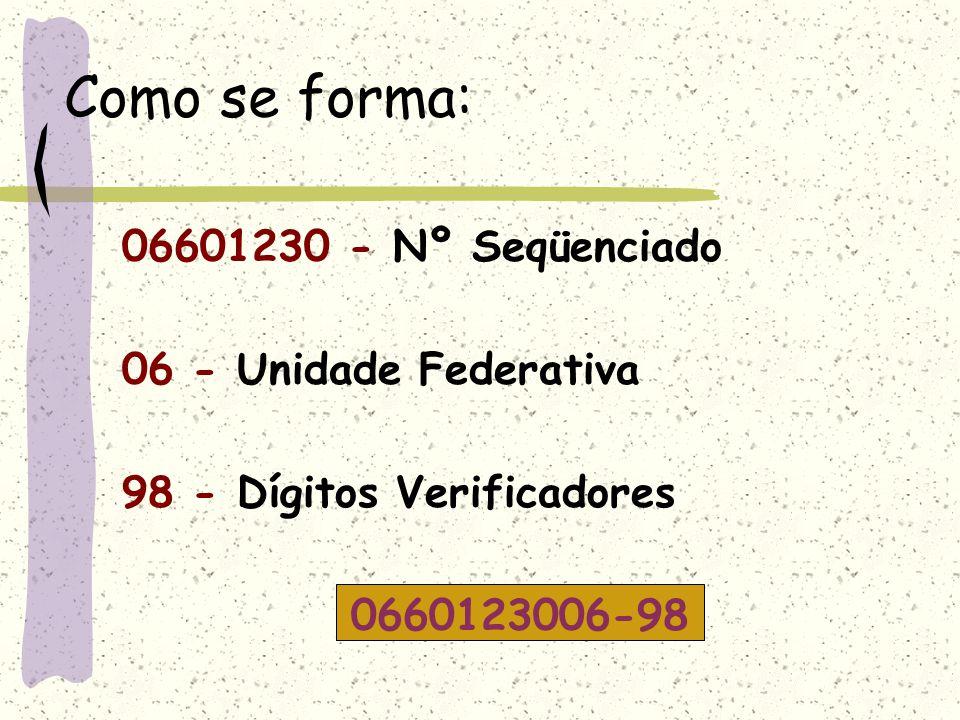 Códigos da Unidade Federação 01 – São Paulo 02 – Minas Gerais 03 – Rio de Janeiro 04 – Rio Grande Sul 05 – Bahia 06 – Paraná 07 – Ceará 08 - Pernambuc