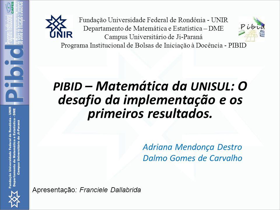 Fundação Universidade Federal de Rondônia - UNIR Departamento de Matemática e Estatística – DME Campus Universitário de Ji-Paraná Programa Institucion