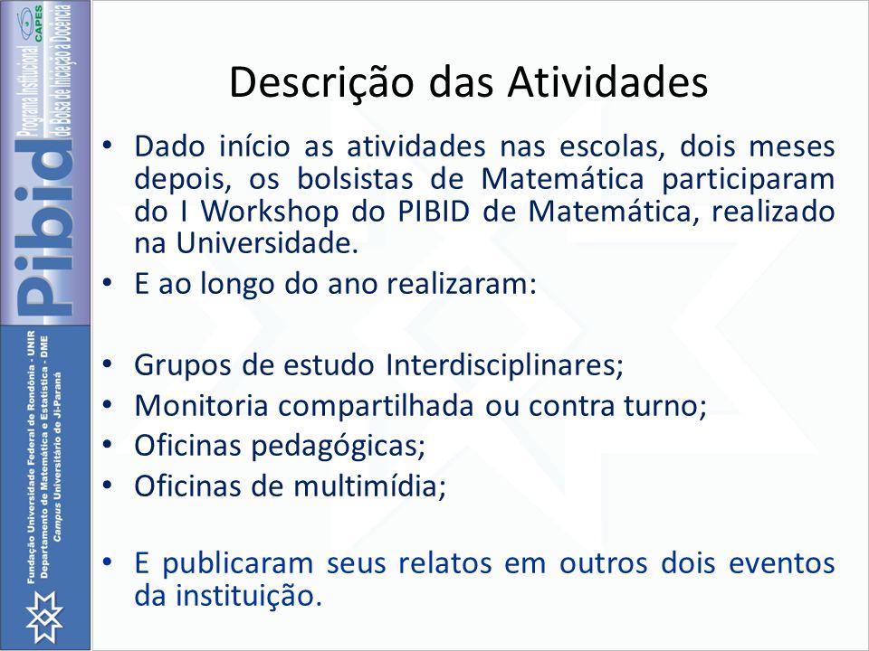 Descrição das Atividades Dado início as atividades nas escolas, dois meses depois, os bolsistas de Matemática participaram do I Workshop do PIBID de M