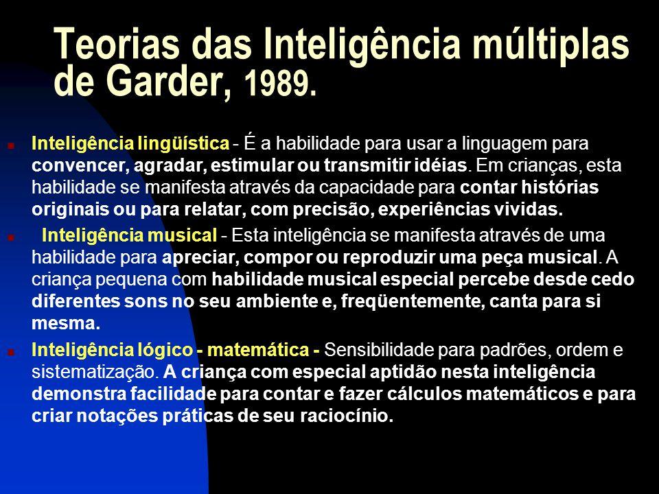 Teorias das Inteligência múltiplas de Garder, 1989.
