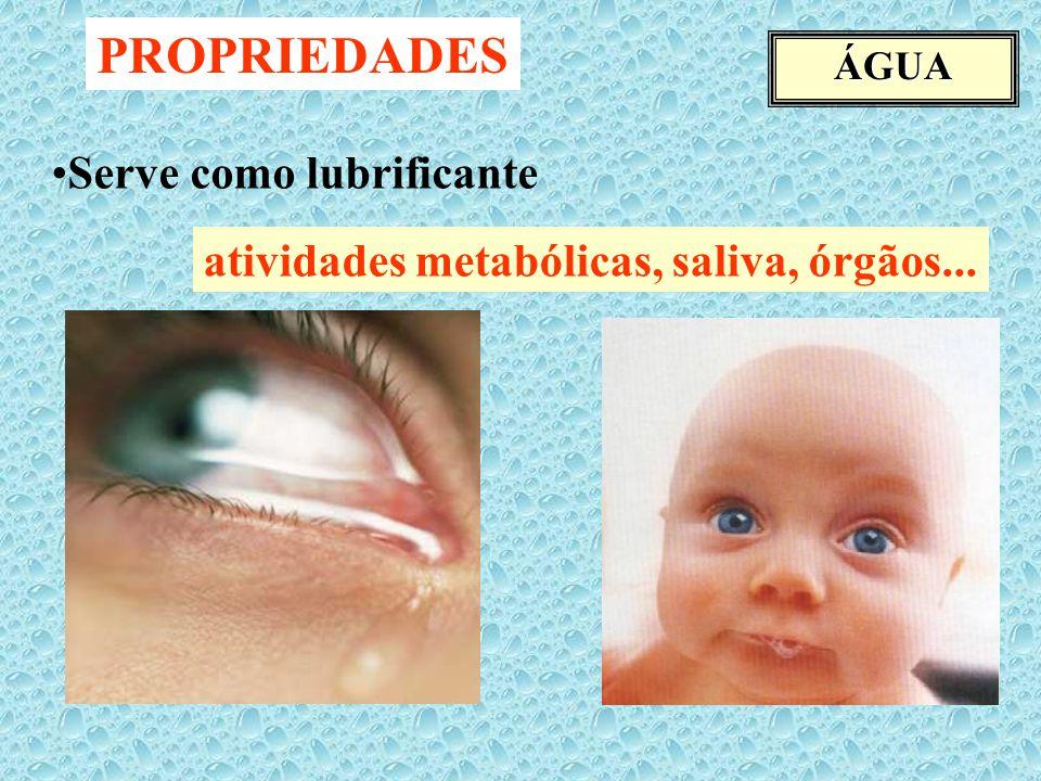 ÁGUA Serve como lubrificante atividades metabólicas, saliva, órgãos... PROPRIEDADES
