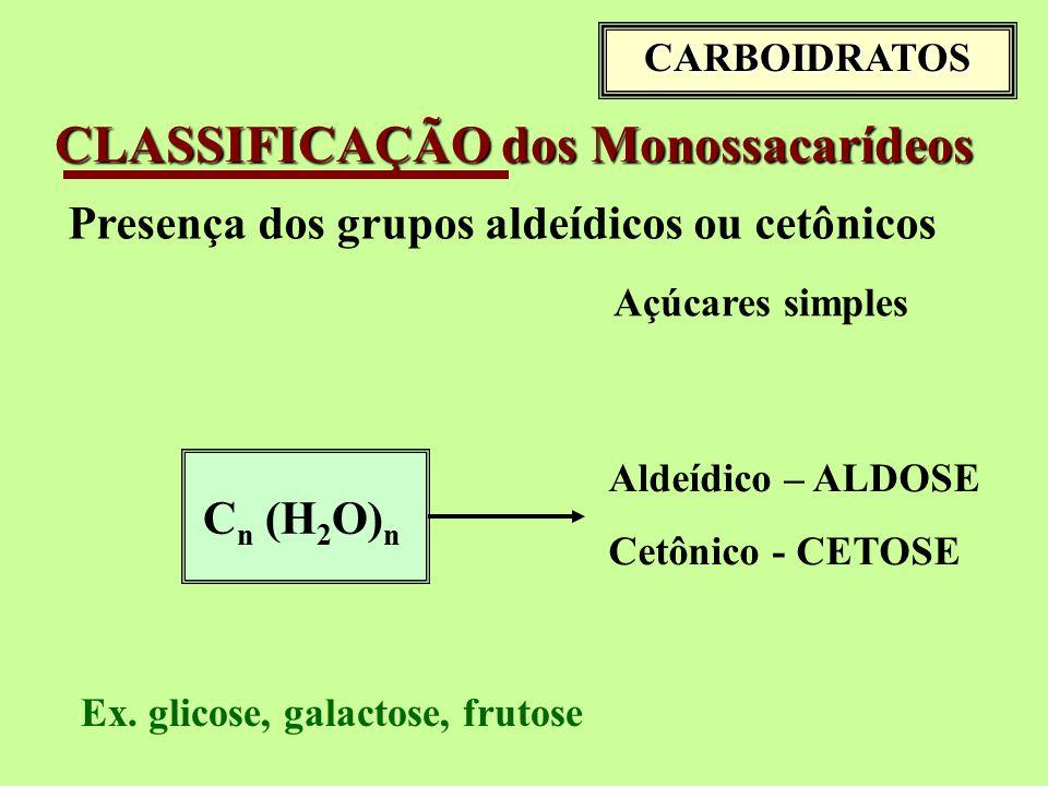 CLASSIFICAÇÃO dos Monossacarídeos Presença dos grupos aldeídicos ou cetônicos Açúcares simples C n (H 2 O) n Aldeídico – ALDOSE Cetônico - CETOSE Ex.