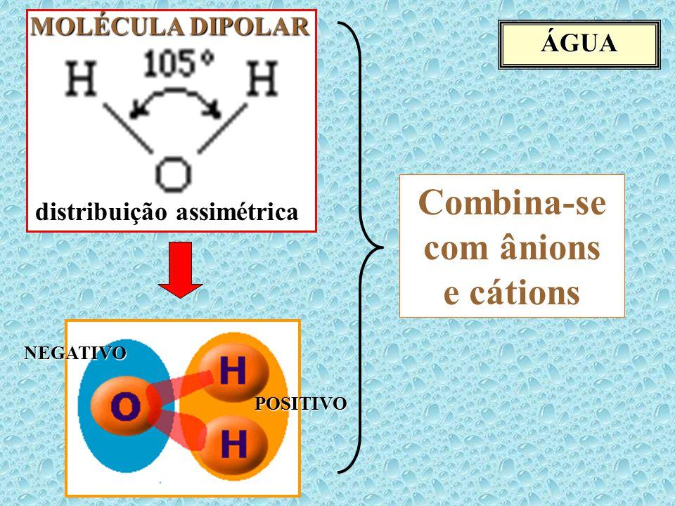 ÁGUA distribuição assimétrica MOLÉCULA DIPOLAR POSITIVO NEGATIVO Combina-se com ânions e cátions