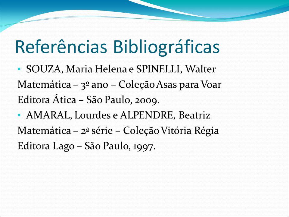 Referências Bibliográficas SOUZA, Maria Helena e SPINELLI, Walter Matemática – 3º ano – Coleção Asas para Voar Editora Ática – São Paulo, 2009.