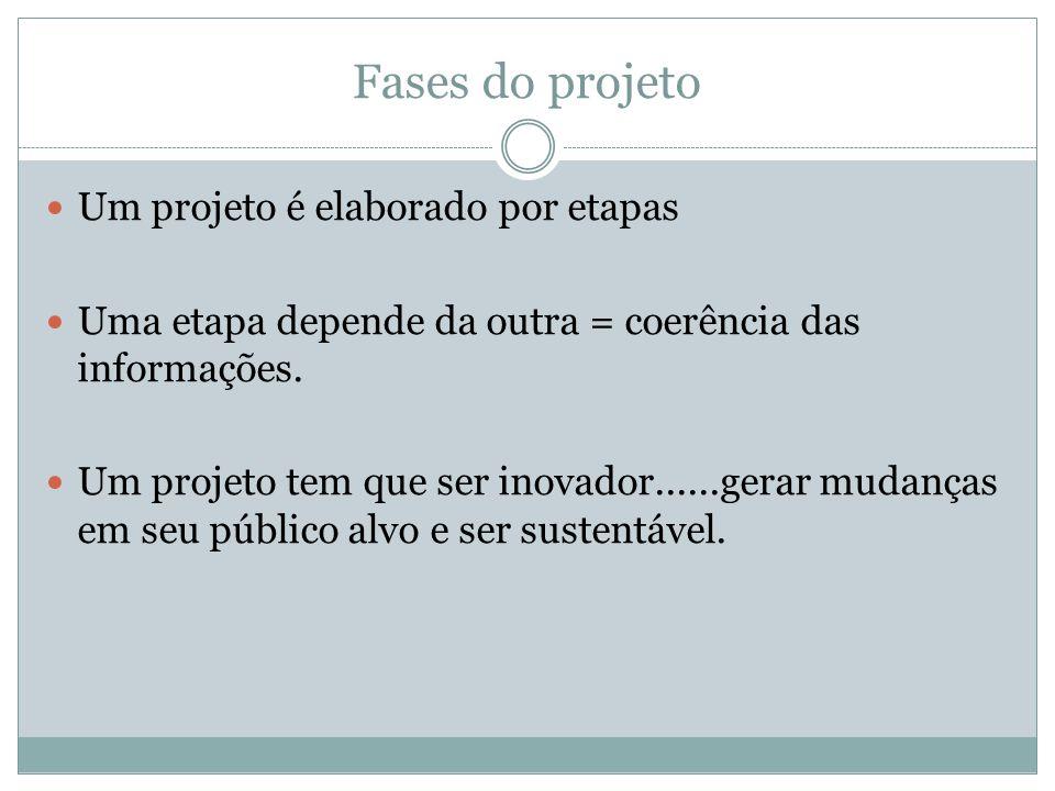 Fases do projeto Um projeto é elaborado por etapas Uma etapa depende da outra = coerência das informações.