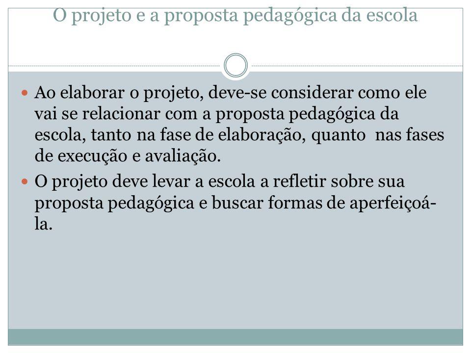 O projeto e a proposta pedagógica da escola Ao elaborar o projeto, deve-se considerar como ele vai se relacionar com a proposta pedagógica da escola, tanto na fase de elaboração, quanto nas fases de execução e avaliação.