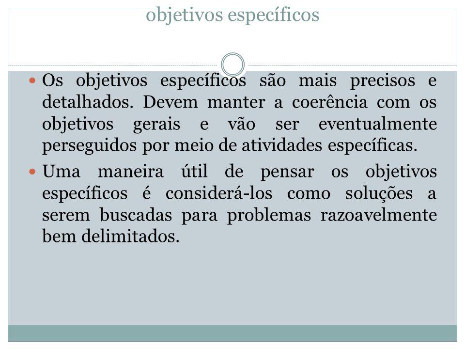 objetivos específicos Os objetivos específicos são mais precisos e detalhados.