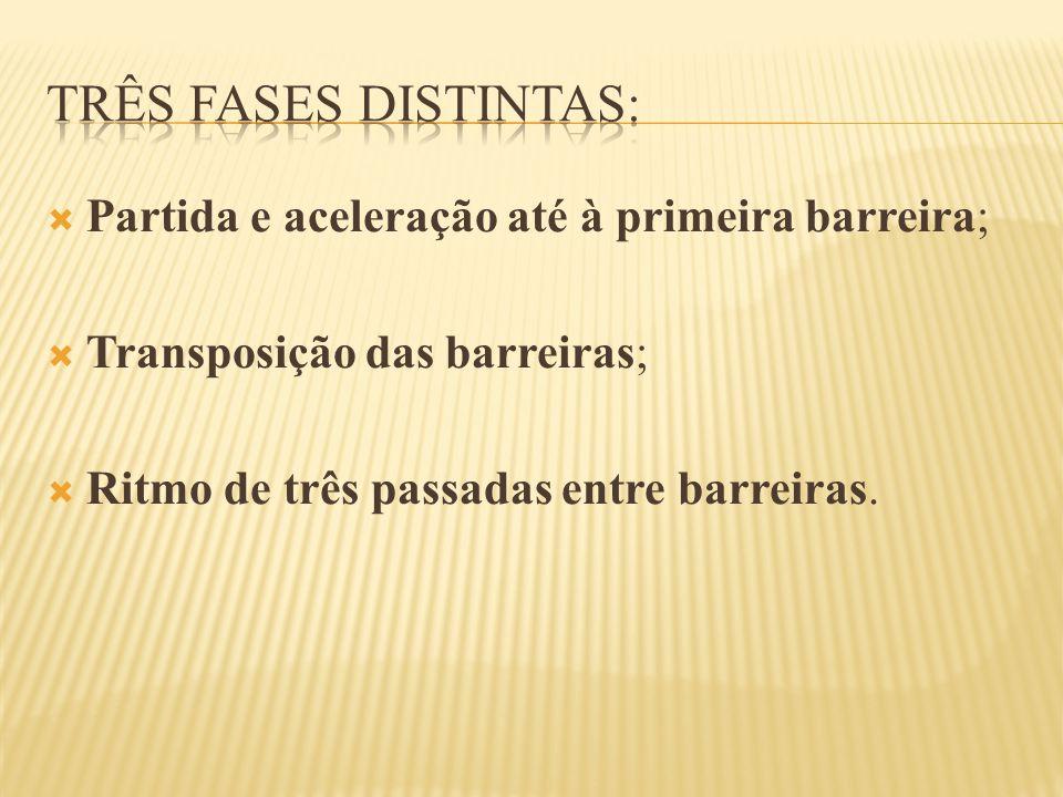  Partida e aceleração até à primeira barreira;  Transposição das barreiras;  Ritmo de três passadas entre barreiras.
