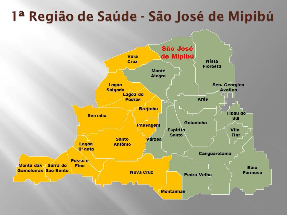 1ª Região de Saúde - São José de Mipibú Nísia Floresta São José de Mipibú Arês Lagoa Salgada Passa e Fica Santo Antônio Goianinha Passagem Pedro Velho Baia Formosa Sen.