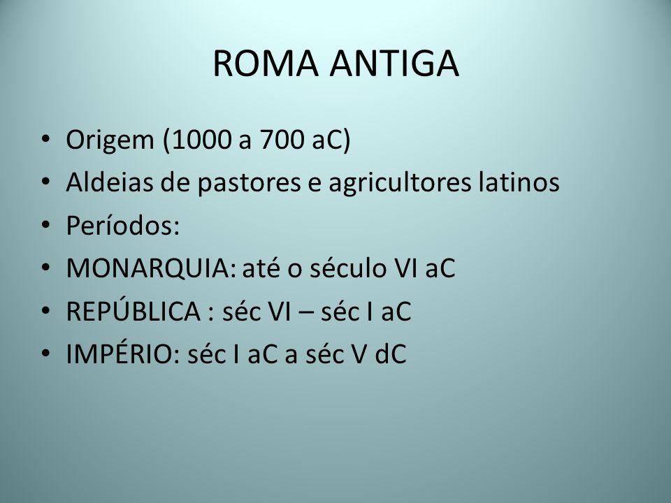 ROMA ANTIGA Origem (1000 a 700 aC) Aldeias de pastores e agricultores latinos Períodos: MONARQUIA: até o século VI aC REPÚBLICA : séc VI – séc I aC IM