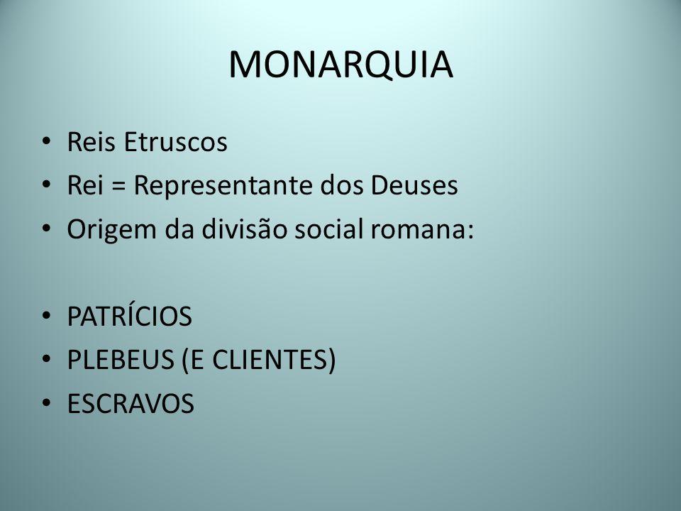 MONARQUIA Reis Etruscos Rei = Representante dos Deuses Origem da divisão social romana: PATRÍCIOS PLEBEUS (E CLIENTES) ESCRAVOS