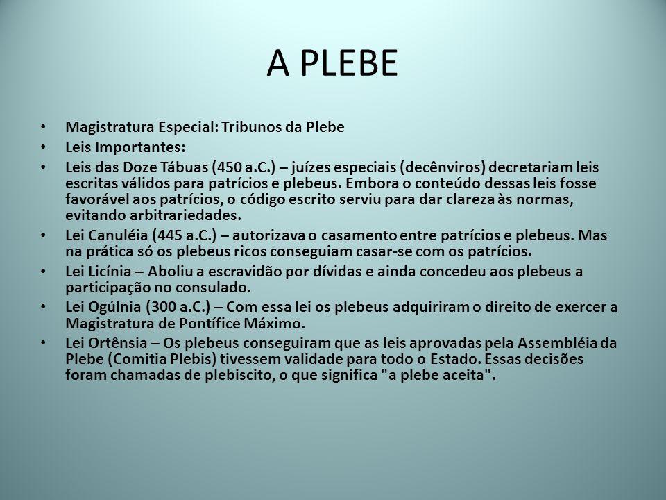 A PLEBE Magistratura Especial: Tribunos da Plebe Leis Importantes: Leis das Doze Tábuas (450 a.C.) – juízes especiais (decênviros) decretariam leis es