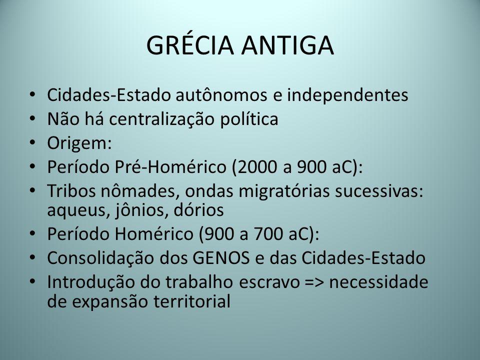 GRÉCIA ANTIGA Cidades-Estado autônomos e independentes Não há centralização política Origem: Período Pré-Homérico (2000 a 900 aC): Tribos nômades, ond
