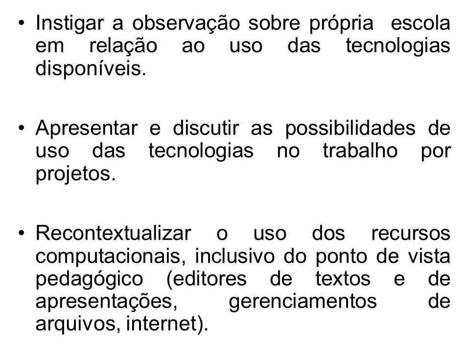 Instigar a observação sobre própria escola em relação ao uso das tecnologias disponíveis.