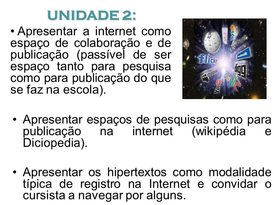 Apresentar espaços de pesquisas como para publicação na internet (wikipédia e Diciopedia).