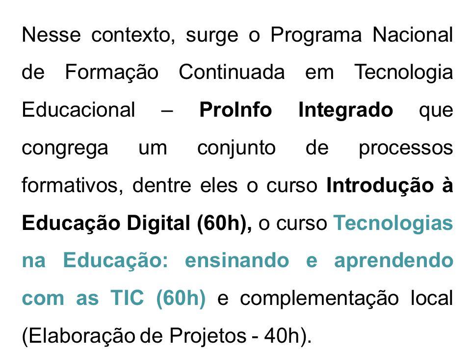 compreender o potencial pedagógico de recursos das TIC no ensino e na aprendizagem em suas escolas; OBJETIVOS do Curso: