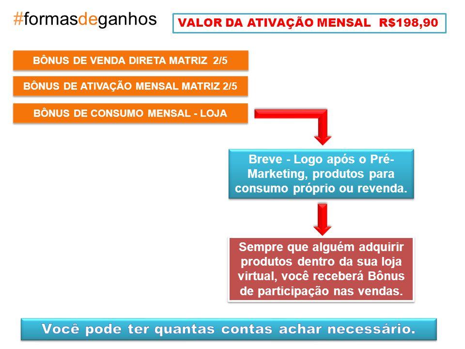 BÔNUS DE ATIVAÇÃO MENSAL MATRIZ 2/5 #formasdeganhos Breve - Logo após o Pré- Marketing, produtos para consumo próprio ou revenda.