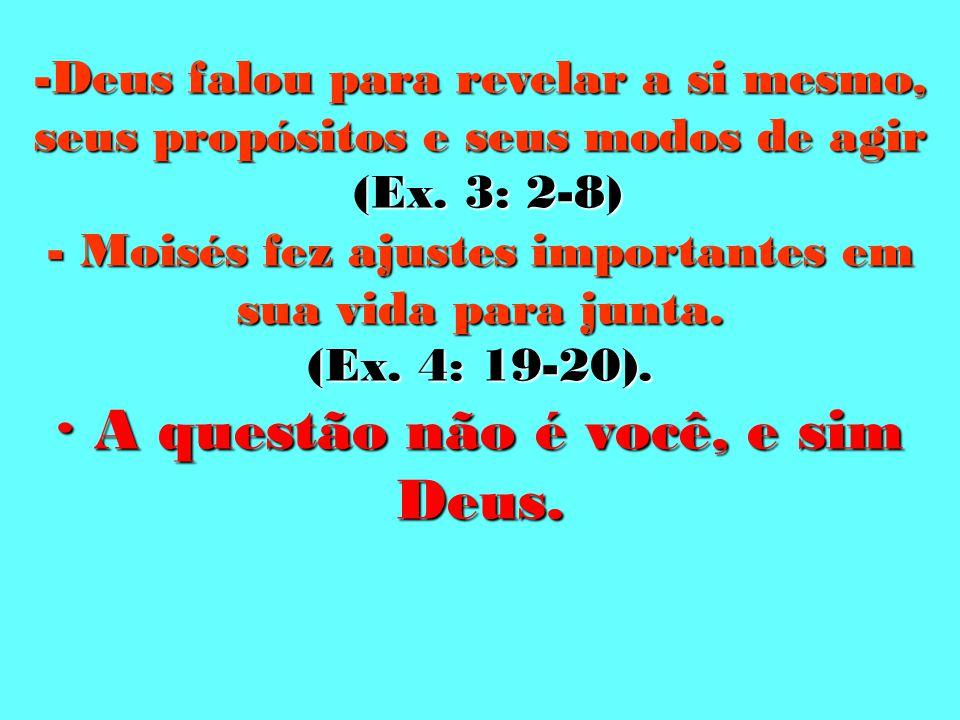 -Deus falou para revelar a si mesmo, seus propósitos e seus modos de agir (Ex.