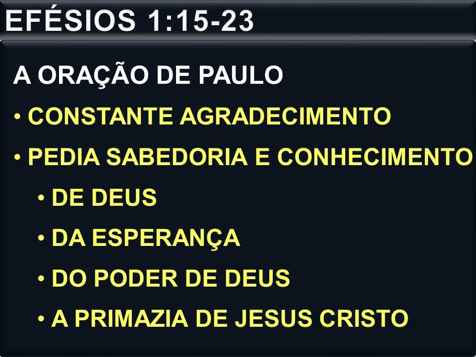 A ORAÇÃO DE PAULO CONSTANTE AGRADECIMENTO PEDIA SABEDORIA E CONHECIMENTO DE DEUS DA ESPERANÇA DO PODER DE DEUS A PRIMAZIA DE JESUS CRISTO