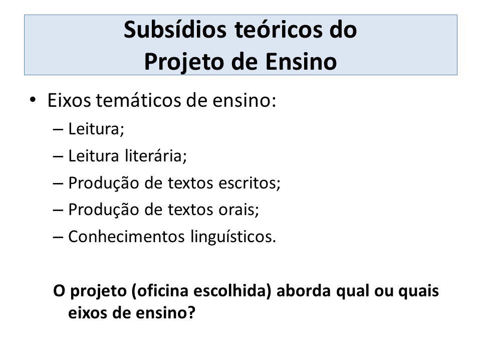 Subsídios teóricos do Projeto de Ensino Eixos temáticos de ensino: – Leitura; – Leitura literária; – Produção de textos escritos; – Produção de textos orais; – Conhecimentos linguísticos.