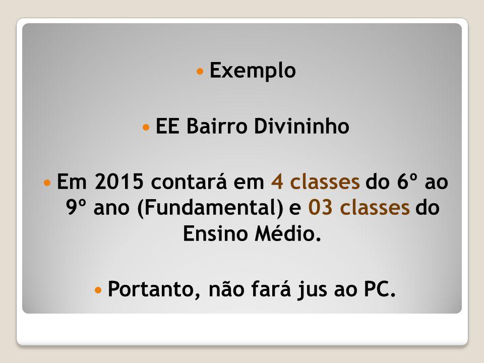 Exemplo EE Bairro Divininho Em 2015 contará em 4 classes do 6º ao 9º ano (Fundamental) e 03 classes do Ensino Médio. Portanto, não fará jus ao PC.