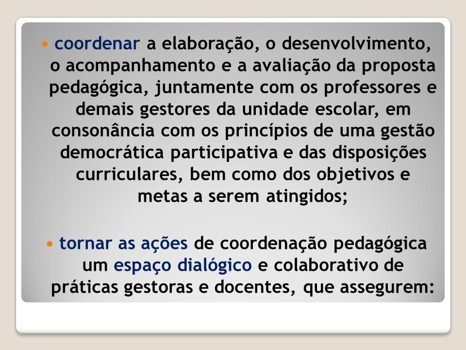 coordenar a elaboração, o desenvolvimento, o acompanhamento e a avaliação da proposta pedagógica, juntamente com os professores e demais gestores da u