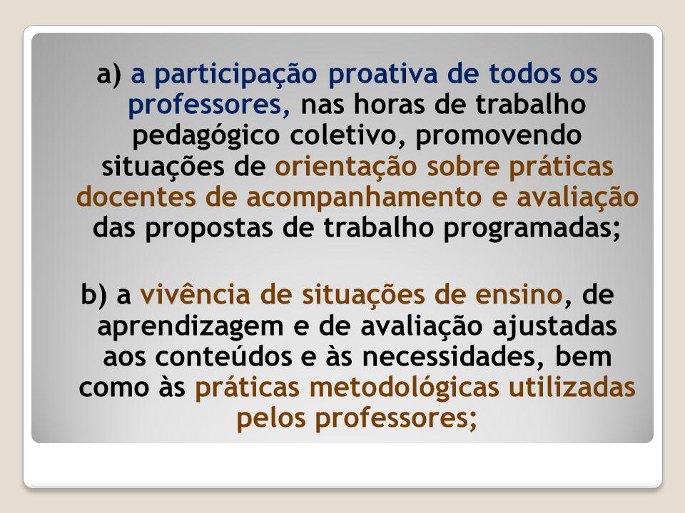a) a participação proativa de todos os professores, nas horas de trabalho pedagógico coletivo, promovendo situações de orientação sobre práticas docen