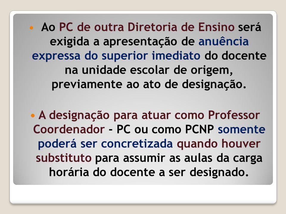 Ao PC de outra Diretoria de Ensino será exigida a apresentação de anuência expressa do superior imediato do docente na unidade escolar de origem, prev