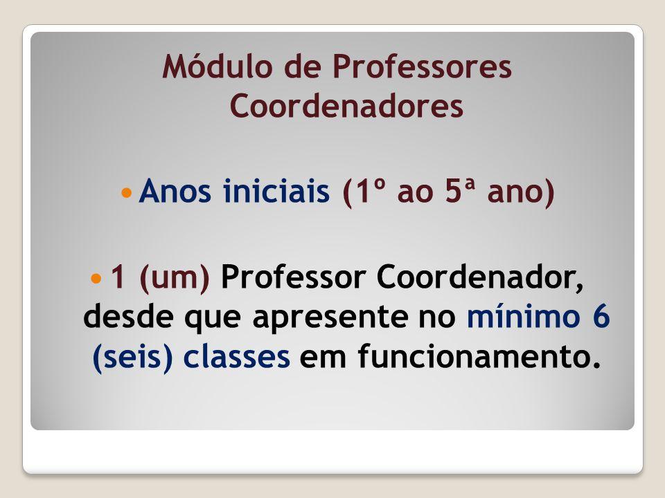 Módulo de Professores Coordenadores Anos iniciais (1º ao 5ª ano) 1 (um) Professor Coordenador, desde que apresente no mínimo 6 (seis) classes em funci