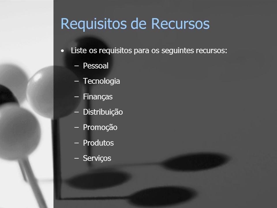 Requisitos de Recursos Liste os requisitos para os seguintes recursos: –Pessoal –Tecnologia –Finanças –Distribuição –Promoção –Produtos –Serviços