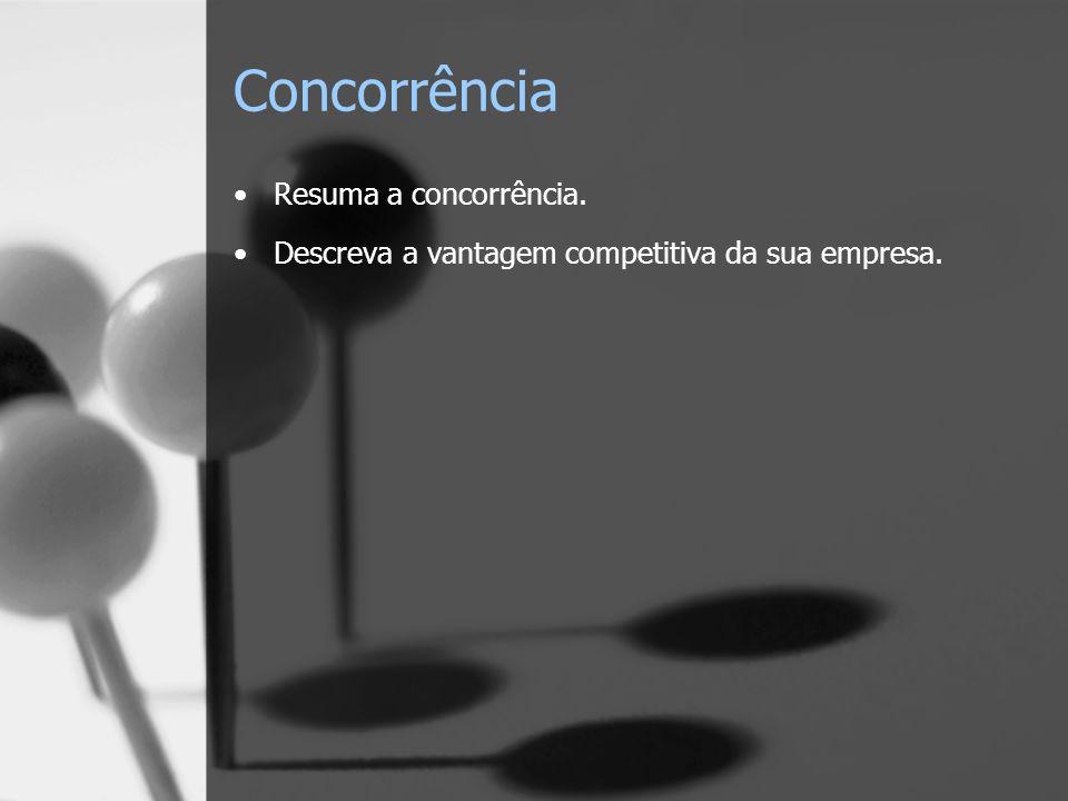 Concorrência Resuma a concorrência. Descreva a vantagem competitiva da sua empresa.