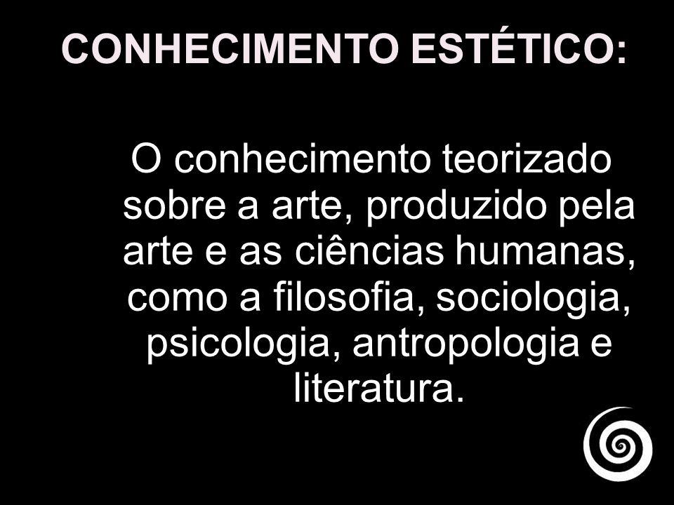 CONHECIMENTO ESTÉTICO: O conhecimento teorizado sobre a arte, produzido pela arte e as ciências humanas, como a filosofia, sociologia, psicologia, antropologia e literatura.