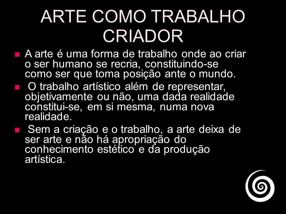 ARTE COMO TRABALHO CRIADOR A arte é uma forma de trabalho onde ao criar o ser humano se recria, constituindo-se como ser que toma posição ante o mundo.