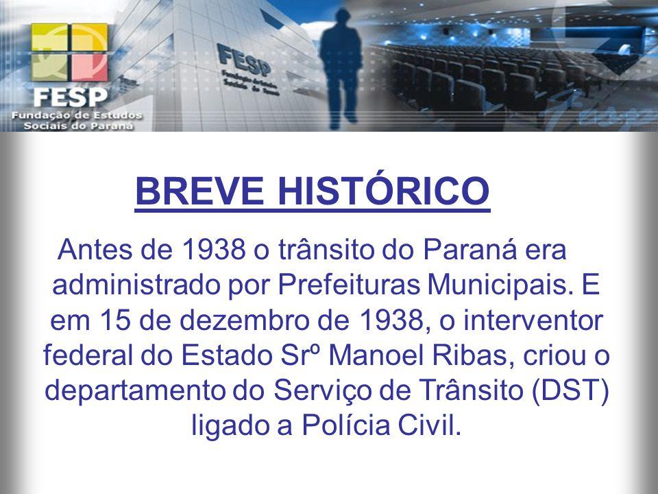 BREVE HISTÓRICO Antes de 1938 o trânsito do Paraná era administrado por Prefeituras Municipais. E em 15 de dezembro de 1938, o interventor federal do